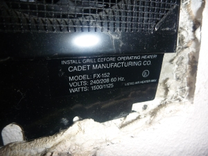 Where to find the cadet wall heater model number for the recall verification on a Salem Oregon home inspection