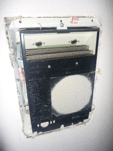 Recalled cadet wall heater showing the vulnerability to over heating and fire in during a Salem Home Inspection