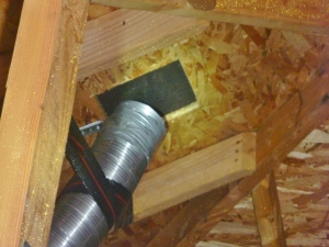 improperly installed attic vent in this Salem, Oregon home.