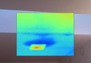 Thermal image showing skylight roof leakage on a Salem Oregon home Inspection